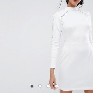 ASOS High Neck Mini Dress With Ladder Trim